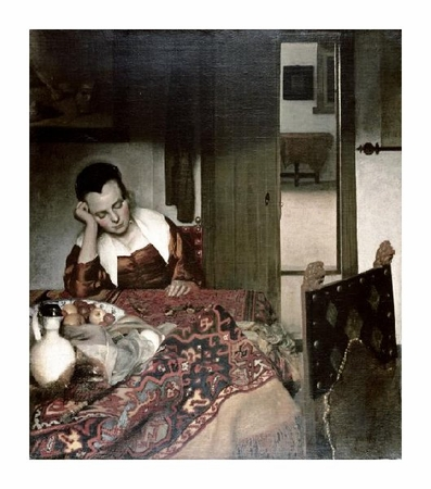 "Johannes Vermeer Fine Art Open Edition Giclée:""Girl Asleep at a Table"""