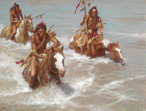 "Howard Terpning Artist Signed and Numbered Canvas Giclee:""Pursuit Across the Yellowstone"""