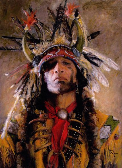 """John Coleman Hand Signed and Numbered Limited Edition Canvas Giclee:""""Holy Man of the Buffalo Nation"""""""