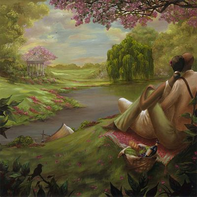 "John Holyfield Handsigned and Numbered Limited Edition :""Romantic Rendezvous"""