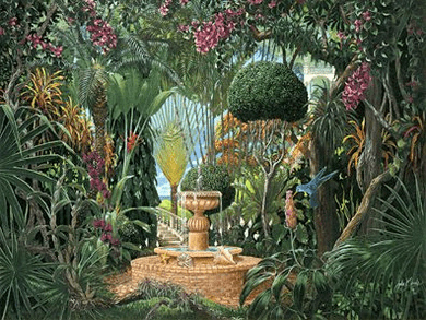 "John Kiraly Limited Edition Serigraph on Paper: "" Key West Garden """