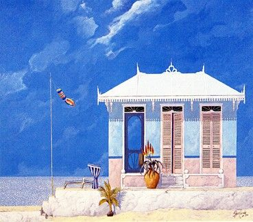 """John Kiraly Limited Edition Serigraph on Paper: """" The House that Aloe Built """""""