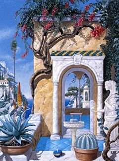 """John Kiraly Limited Edition Serigraph on Paper: """" Time in Ravello """""""