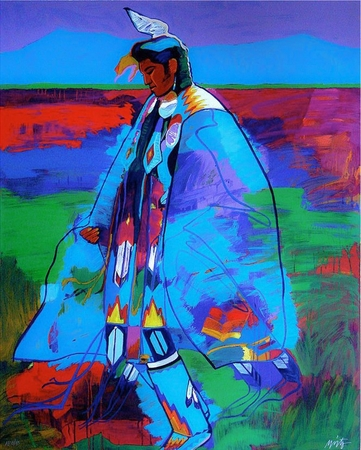 "John Neito Limited Edition Serigraph on Paper:""Dancer at Taos Pueblo"""