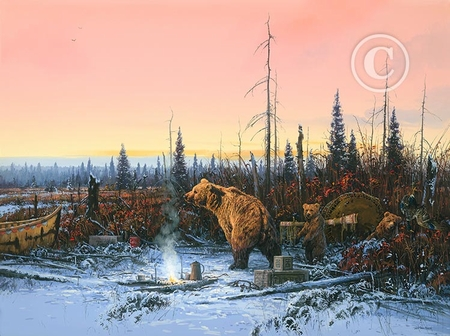 """John Paul Strain Hand Signed and Numbered Limited Edition Giclee:""""Grizzly Bears in Camp"""""""