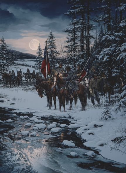 "John Paul Strain Hand Signed and Numbered Limited Edition Executive Canvas Giclée:""Snow Moon"""