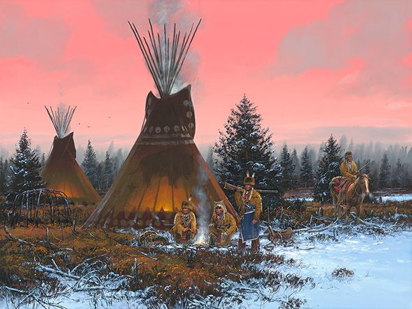 """John Paul Strain Hand Signed and Numbered Limited Edition Giclee:""""By the Fire's Glow"""""""