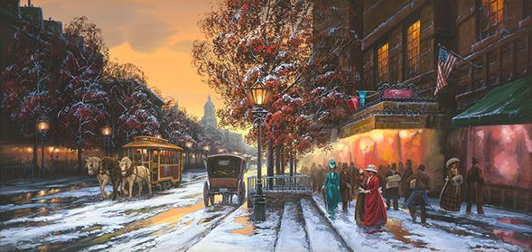 """John Paul Strain Hand Signed and Numbered Limited Edition Giclee:""""Horse Drawn Trolley"""""""