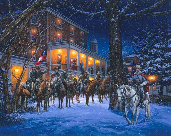 """John Paul Strain Hand Signed and Numbered Limited Edition Giclee:""""Mosby's Rangers in Warrenton"""""""