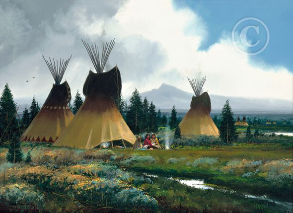 "John Paul Strain Hand Signed and Numbered Limited Edition Giclee:""Sage Creek Encampment"""