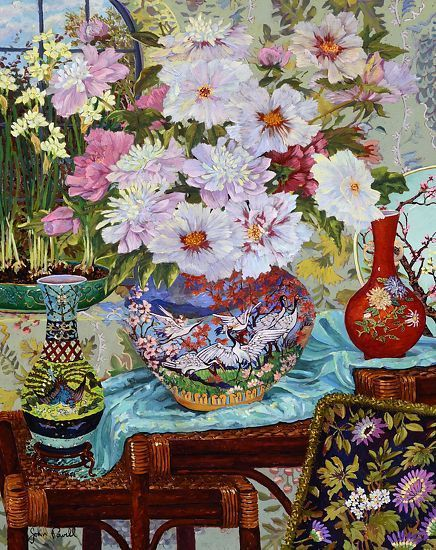 """John Powell Hand Signed and Numbered Limited Edition Giclee on Canvas:""""Springtime Peonies"""""""