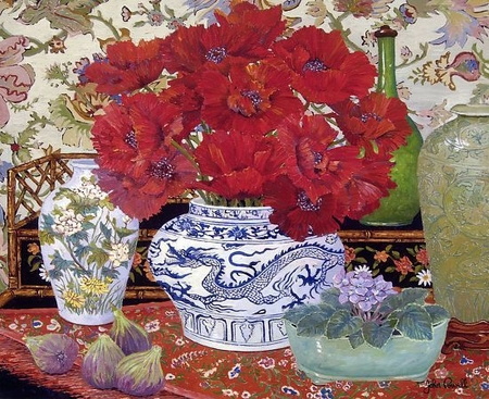 """John Powell Hand Signed and Numbered Limited Edition Giclee on Paper:""""Nan's Poppies"""""""