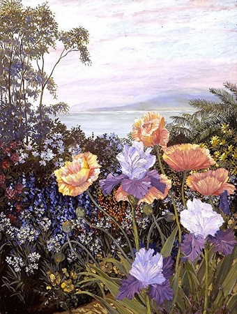 """John Powell Hand Signed and Numbered Limited Edition Serigraph on Paper:""""Botanical Bay"""""""