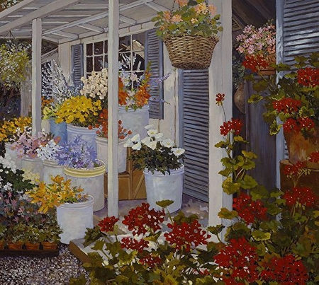 "John Powell Hand Signed and Numbered Limited Edition Serigraph on Paper:""Country Flowers"""