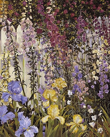 """John Powell Hand Signed and Numbered Limited Edition Serigraph on Paper:""""Foxgloves and Iris"""""""