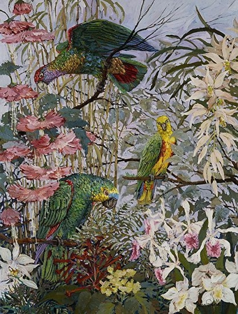 """John Powell Hand Signed and Numbered Limited Edition Serigraph on Paper:""""Parrots and Hibiscus"""""""
