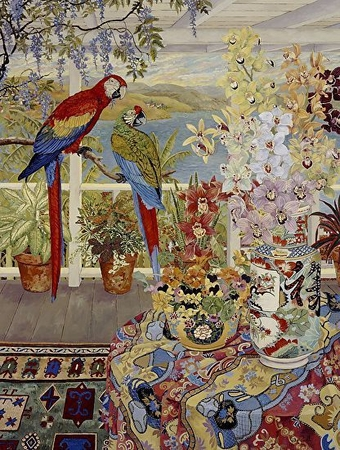"""John Powell Hand Signed and Numbered Limited Edition Serigraph on Paper:""""Parrots on the Veranda"""""""