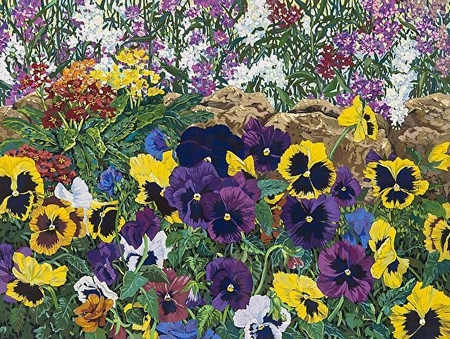 """John Powell Hand Signed and Numbered Limited Edition Serigraph on Paper:""""Purple Pansies"""""""