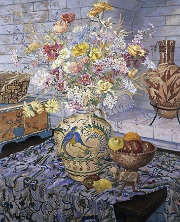 """John Powell Hand Signed and Numbered Limited Edition Serigraph on Paper:""""Studio Floral"""""""
