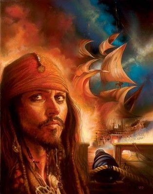 """John Rowe Hand Signed and Numbered Limited Edition Giclee on Canvas:""""Pirates of the Caribbean - Midnight Raid"""""""
