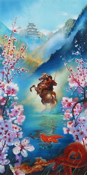 """John Rowe Handsigned and Numbered Limited Edition Embellished Giclee on Canvas:""""A Warrior's Reflection"""""""