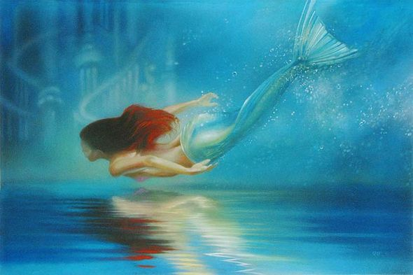 "John Rowe Signed and Numbered Giclée on Canvas:""Underwater Princess"""