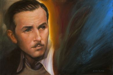 """John Rowe Signed and Numbered Limited Edition Hand-Embellished Giclée on Canvas:""""A Man and His Dream (Walt Disney)"""""""