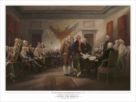 """John Trumbull Open Edition Fine Art Giclèe:""""The Declaration of Independence, July 4th 1776"""""""