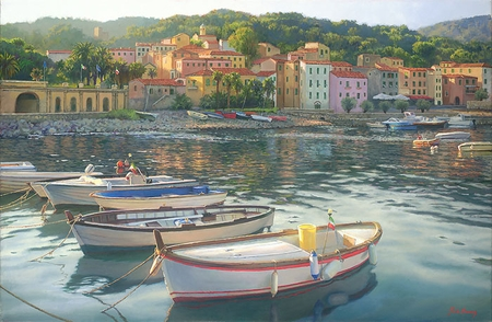 """June Carey Hand Signed and Numbered Limited Edition Giclee on Paper and Canvas:""""Rio Marina"""""""