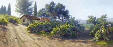 """June Carey Handsigned and Numbered Limited Edition Print:""""Monterey Vineyard """""""