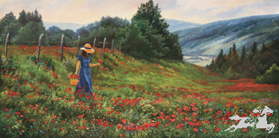 """June Dudley Signed Canvas Edition:""""Knee Deep In Poppies"""""""
