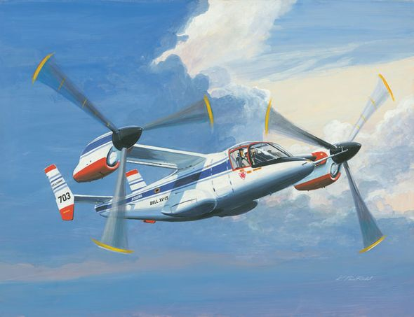 """K. Price Randel Handsigned and Numbered Limited Edition Museum Quality Canvas Giclée: """"Bell XV-15"""""""