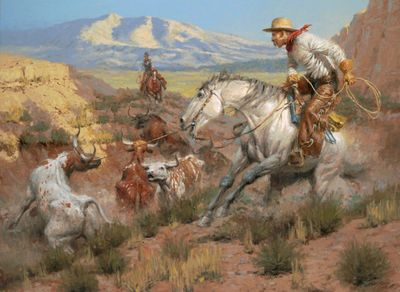 "Andy Thomas Artist Signed and Numbered Limited Edition Canvas Giclee:""The Rebel Steer"""