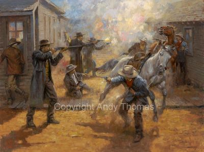 "Andy Thomas Artist Signed and Numbered Limited Edition Giclee:""Tombstone Turmoil 