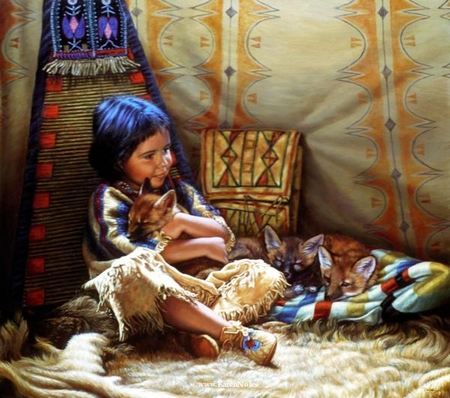 """Karen Noles Handsigned and Numbered Limited Edition Print: """"Teepee Tender"""""""