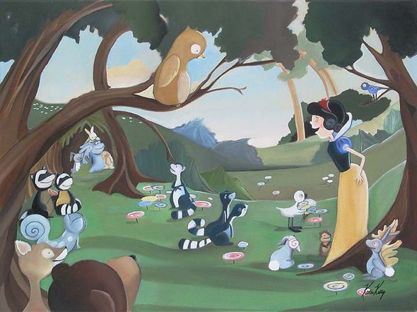"Katie Kelly Hand Signed and Numberd Limited Edition Giclee on Canvas:""Forest Friends"""