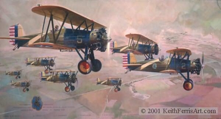 """Keith Ferris Artist Hand Signed and Open Edition Print :""""Pursuit Section Instructors"""""""