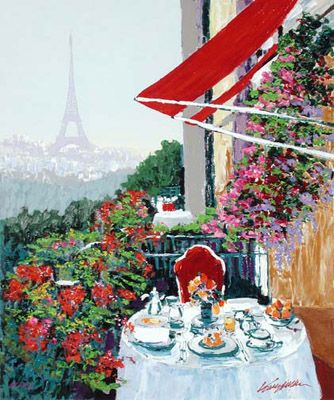 """Kerry Hallam Hand-Pulled and Embillished Serigraph on Canvas:""""Paris Sunrise """""""