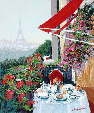 "Kerry Hallam Hand-Pulled and Embillished Serigraph on Canvas:""Paris Sunrise """