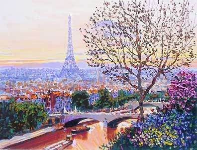 "Kerry Hallam Hand-Pulled and Embillished Serigraph on Canvas:""Paris Sunset """