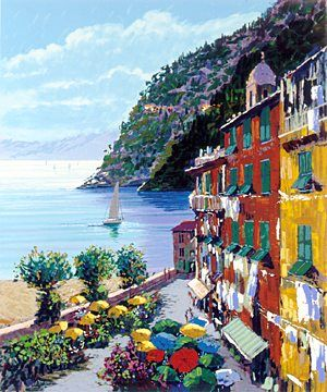 """Kerry Hallam Handsigned & Numbered Limited Edition Serigraph:""""Cinqueterre """""""