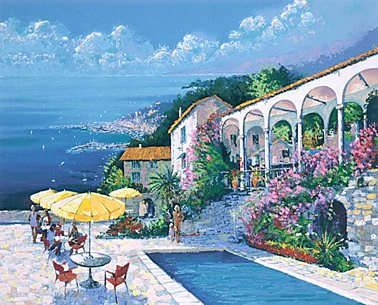 "Kerry Hallam Handsigned & Numbered Limited Edition Serigraph :"" Mediterranean Villa"""