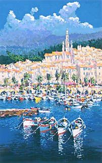 "Kerry Hallam Handsigned & Numbered Limited Edition Serigraph:""Menton Harbor """