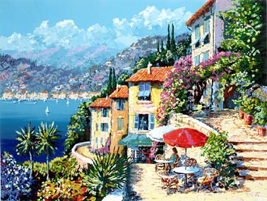 """Kerry Hallam Handsigned & Numbered Limited Edition Serigraph on Paper:""""Cap d'Azur """""""