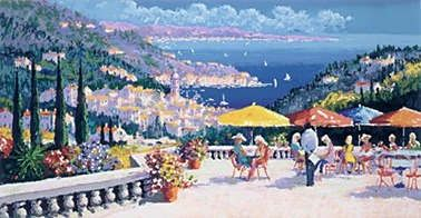 "Kerry Hallam Handsigned & Numbered Limited Edition Serigraph on Paper:""Cote D'Azur """