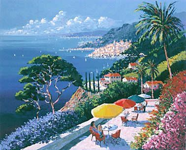 "Kerry Hallam Handsigned & Numbered Limited Edition Serigraph on Paper:""Grande Corniche """