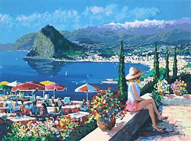 "Kerry Hallam Handsigned & Numbered Limited Edition Serigraph on Paper:""Lugano """