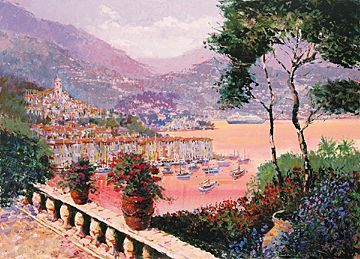 "Kerry Hallam Handsigned & Numbered Limited Edition Serigraph:""Portofino Evening """
