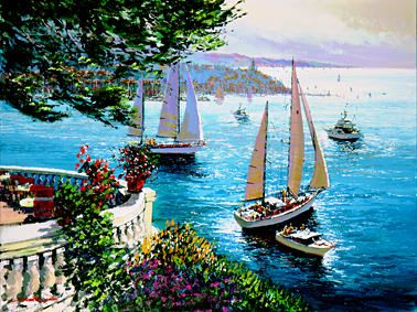 """Kerry Hallam Handsigned & Numbered Limited Edition Serigraph:""""Riviera Terrace """""""