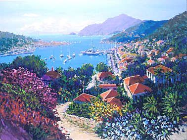 """Kerry Hallam Handsigned & Numbered Limited Edition Serigraph:""""St. Bart's """""""